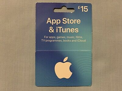Apple iTunes £15 Gift Voucher, App Store, Apps, Games, Music, Films, Books, BNWT