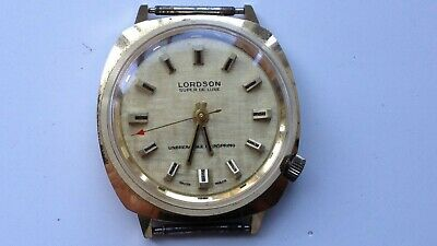 Mens Vintage Lordson Gold Tone Manual Wind Swiss Made Watch