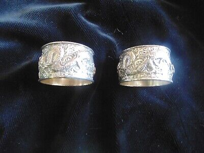 Pair of Antique Oriental style Silver Plate Napkin rings