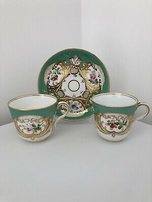 Victorian Trio English Bone China - Handpainted Gilt Cup Saucer Plate