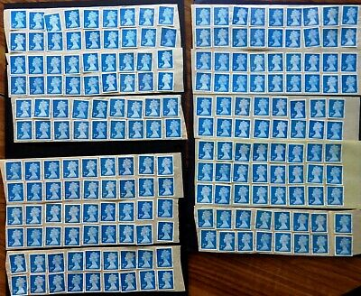 GB 200 2nd Class Blue Stamps UNFRANKED OFF PAPER  **WITH GUM**  Face: £130