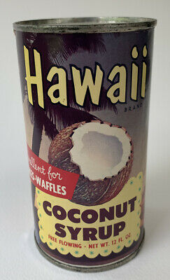 Vintage Hawaii Brand Coconut Syrup Sealed Can, Pre-1963