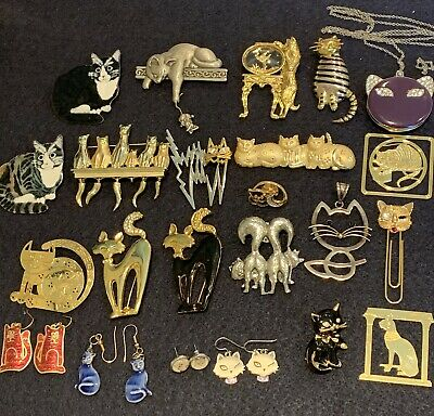 Lot Of Cat Jewelry Vintage Fashion Some Signed Brooches Earrings Pendants Book M