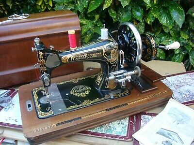 Antique Old Vintage Frister  & Rossmann  Hand Crank   sewing machine See Video