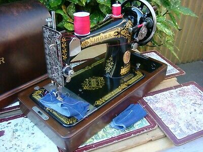 Antique Old Vintage Hand Crank  Singer sewing machine Model 28K See Video