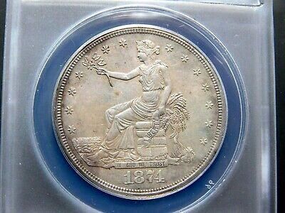1874-S U.S. TRADE SILVER DOLLAR, ANACS-58 cleaned;  lgt toning, Great Eye Appeal