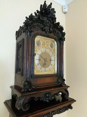 A Superb Antique Carved Rosewood Musical Bracket Clock / Victorian