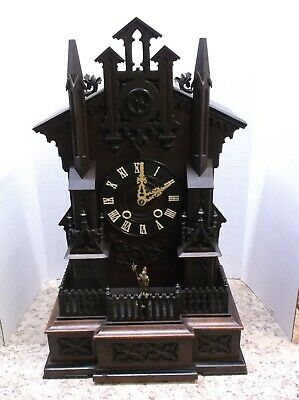 Cuckoo Clock,Mantle Cuckoo With Animated Sentry,Watch Video !!