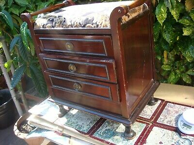 Antique Mahogany Edwardian Wooden Piano Stool / Seat / Chair Music Sheet Cabinet