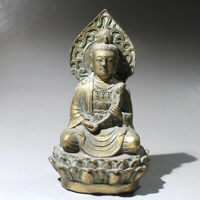 China Collectable Old Bronze Hand-Carved Lotus Kwan-Yin Buddhism Delicate Statue