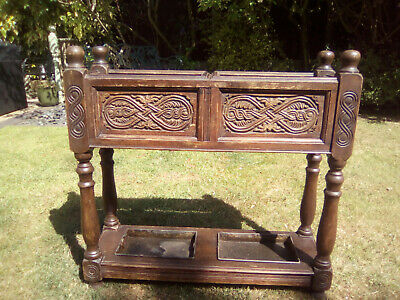 Vintage Antique Oak Hallway Stand Carved Stand Plant And Shoe Boot Stand