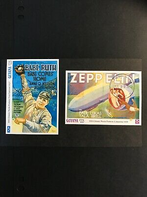 Guyana Stamps 1992 - Movie Posters Babe Ruth & Zeppelin