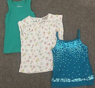 LG59 3 X Next & M&S Tops Age 7. Green Sequin Party, Cream Floral & Green Vest