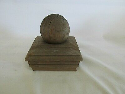 Vintage Wood Fence Post Cap, Deck Post Cap Finial, Cannon Ball, Reclaimed