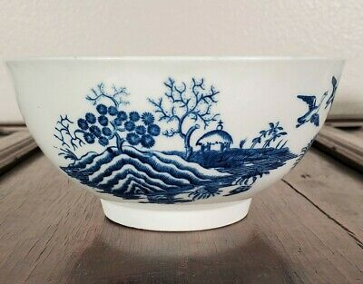 "Antique Worcester Dr Wall Porcelain 6"" Tea Bowl Blue White 1700s First Period"
