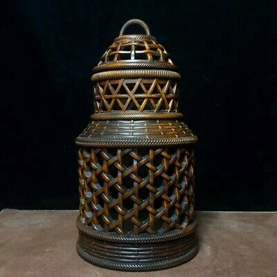 Collectable China Old Boxwood Hand-Carved Hollow Out Delicate Noble Cricket Pots