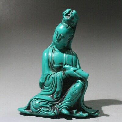 Collectable China Turquoise Hand-Carved Myth Kwan-yin Buddhism Auspicious Statue