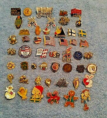 Huge Lapel Pin or pin Lot Souvenir Flags Olympic Disney Music Mixed 51 Pieces