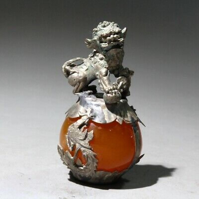 Collectable China Old Miao Silver Amber Handwork Carve Myth Dragon & Lion Statue