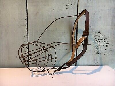 Rare Antique/Vintage Estate Made Wire And Leather Dog Muzzle Victorian/Edwardian