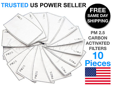 10 Pack PM2.5 Activated Carbon 5 Layer Face Mask Replacement Filters US Seller
