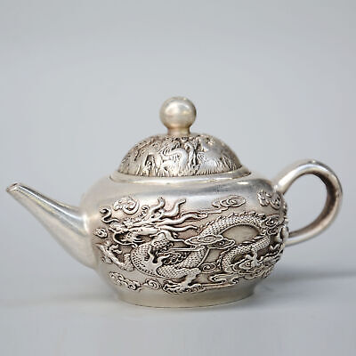 Qianlong Years Collectable China Old Miao Silver Hand-Carved Dragon Noble Teapot