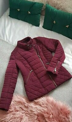Next Ladies Purple Burgundy Padded Quilted Jacket Size 8