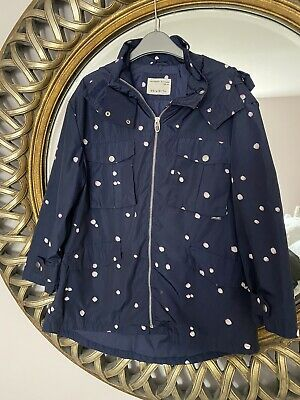 ZARA Girls Polka Dot Navy Pink Cagoule Jacket Raincoat - Hooded - Age 9-10