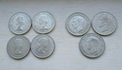 7 Australian silver florins 1940s and 1950s