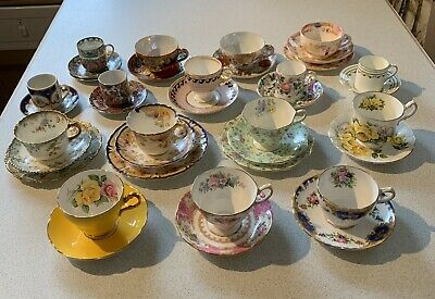 Various Antique Coffee / Tea Cups Saucers & Side Plates Bone China