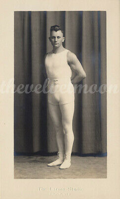 Vintage Male Nude - Larson Studio Athlete Wearing Tights in Studio Arms Behind