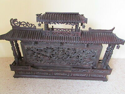 antique Chinese carved boxwood wall sculpture dragon heads and phoenix birds