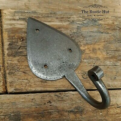Hand Forged Gothic Leaf Hook - Antique Iron