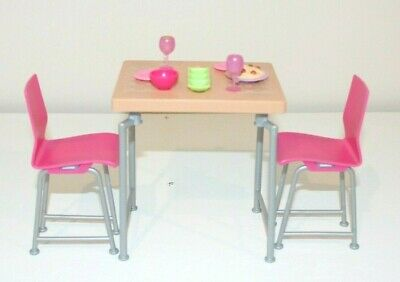 Barbie Dollhouse Furniture Dining Date Night Kitchen Table Chairs Accessories