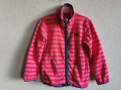 Helly Hansen girls polyester long sleeve striped fleece jacket size 7 years 122