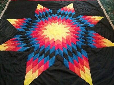 Beautiful authentic Native American Lakota Sioux  star Quilt Black