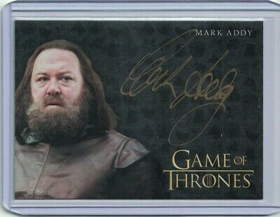 Game of Thrones Valyrian Steel Mark Addy Gold Autograph Signed Card - RARE