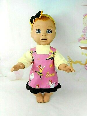 "Dolls clothes for 18"" LUVABELLA DOLL~EMMA WIGGLES PINAFORE~TOP~HAIR BOW"