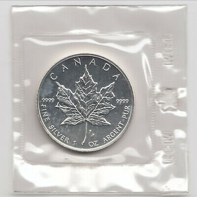 1990 Canadian Maple Leaf, 1 oz silver, .9999 pure, Mint Sealed