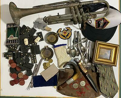 Vtg Lot Estate Grandpa Knife Cane Trumpet Silverplate Collectibles Boy Scout