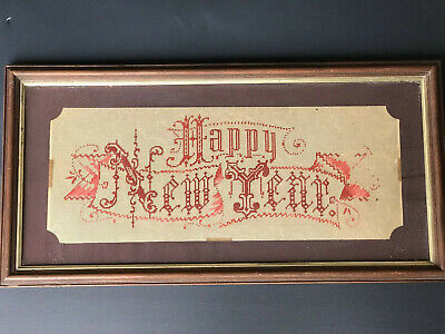 Rare Victorian Motto Paper Punch Work Framed Glass  Happy New Year