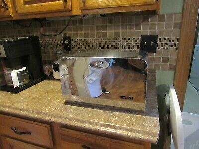 Vintage chrome  breadbox  with  wood  cutting board  made in the USA