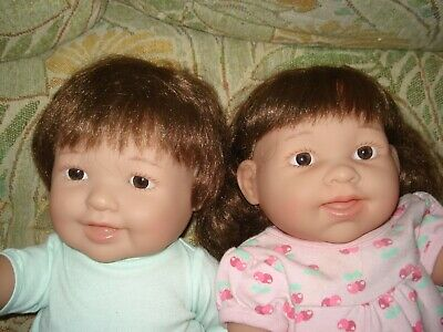 TWINS~HTF Lot of 2/Two Chubby Berenguer Lots To Love Lg Vinyl Toddler Dolls EUC