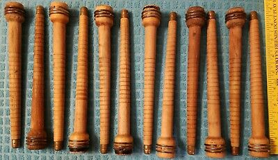 "Lot of 12 Textile Mill Wooden Vintage Spools Bobbin Quills 8 1/2 "" Primitive"