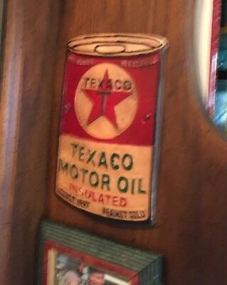 """Texaco Oil Metal Sign Patina Style Metal Cast Advertisement Gas 1/4"""" Mobil Ex NR"""