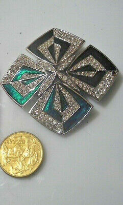 Brooch Vintage Estate Art Deco Revival Rhinestone Enamel green  -1 +Post FREE