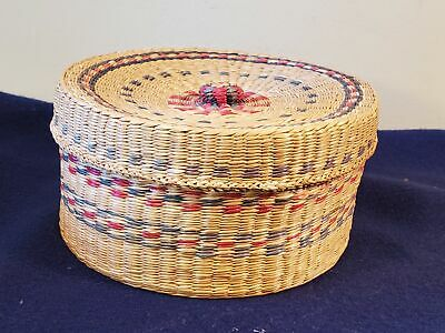 Vintage Natural Woven Sweet Grass Basket/Trinket Box with Lid