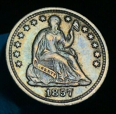 1857 Seated Liberty Half Dime 5C High Grade VF XF+ Good US Silver Coin CC2070