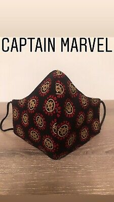 Cotton face mask. Unisex Size. One Of A Kind Due To The Fabric Design. Marvel