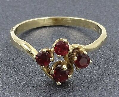 VINTAGE Garnet Ring 14ct Yellow Gold Fine Jewelry Band Size O 1/2